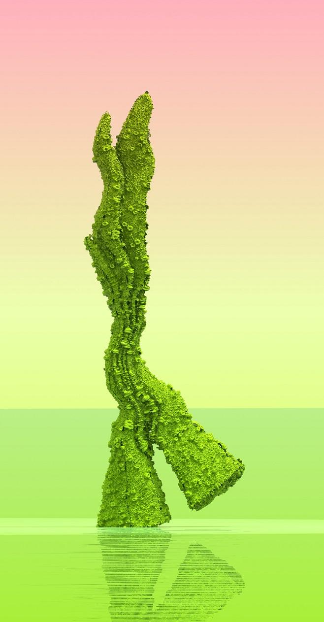 Зеленоступ Древовидный. Из серии Виртуальные цветы. 240 х 125 см, цифровая печать на алюминии, плексиглас / 2016
