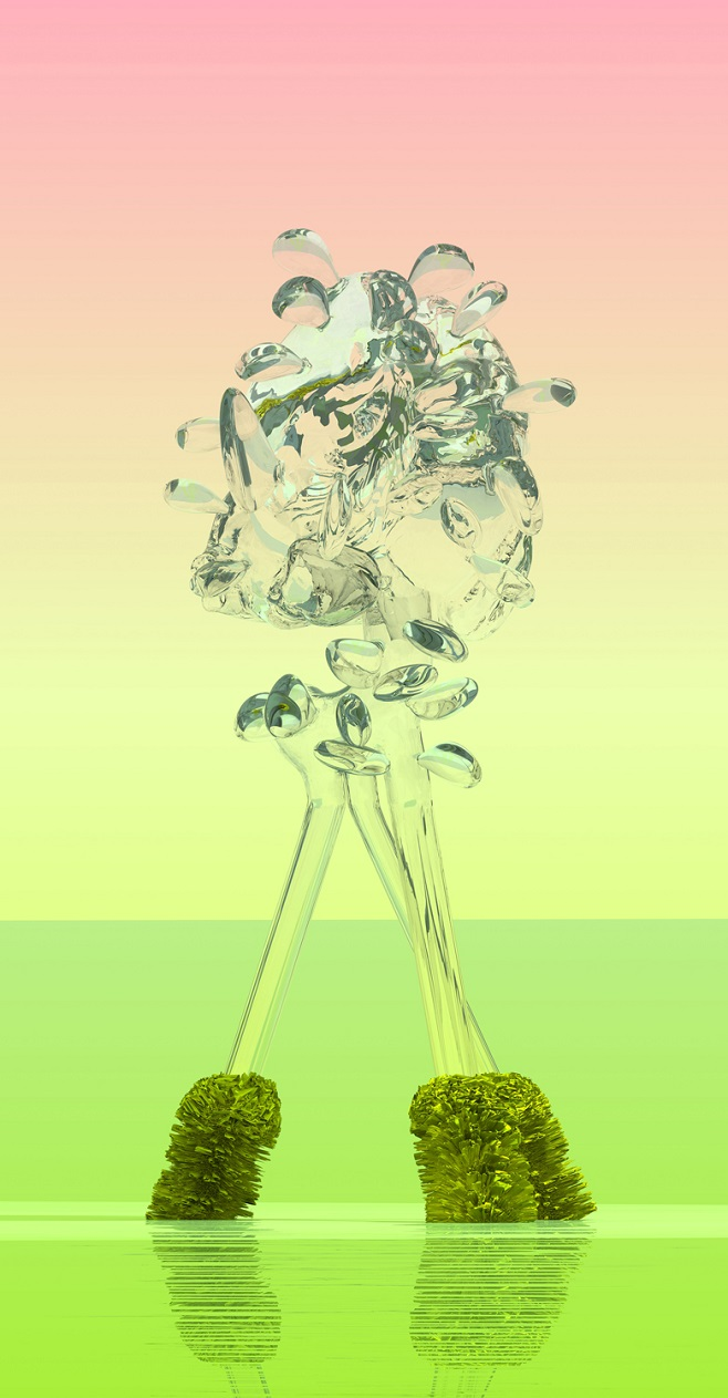 Стеклоцвет Великолепный. Из серии Виртуальные цветы. 240 х 125 см, цифровая печать на алюминии, плексиглас / 2016