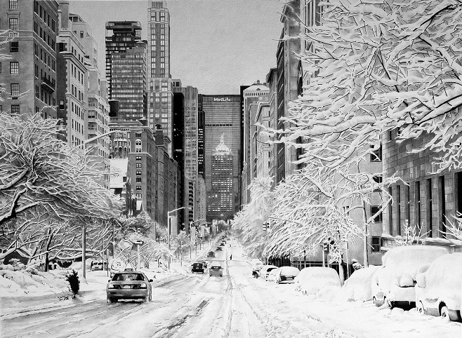 Snowy-New-York_Ballpoint_Pen-Poletaev_Art