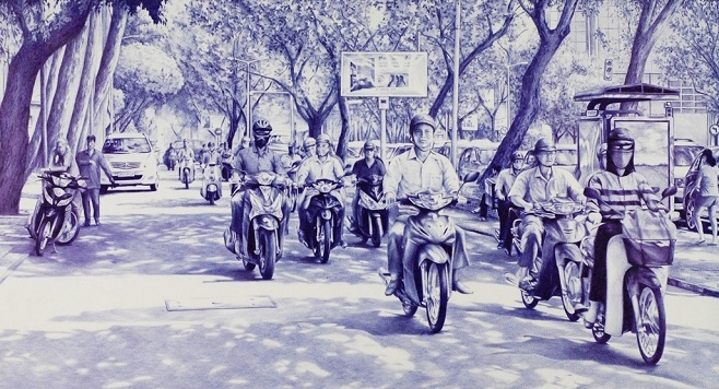 ballpoint_pen_drawing_poletaev_art_commute_in_Ho_Chi_Minh