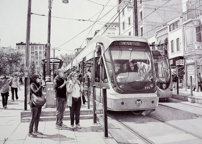 ballpoint_pen_drawing_poletaev_art_metro_stop_in_Istanbul
