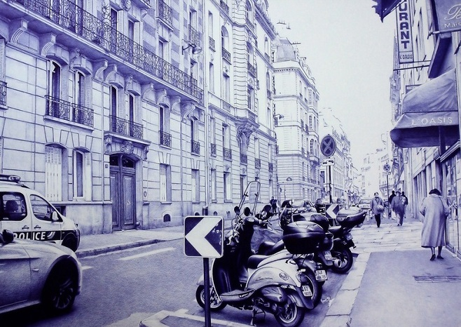 ballpoint_pen_drawing_poletaev_art_streets_of_Paris