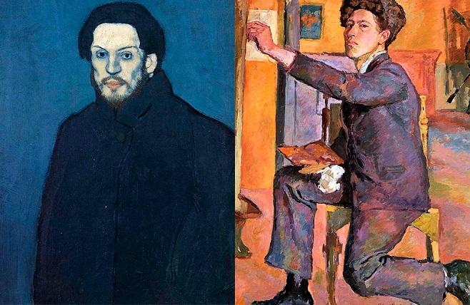 Пабло Пікассо. Автопортрет, 1901. Альберто Джакометті. Автопортрет, 1921
