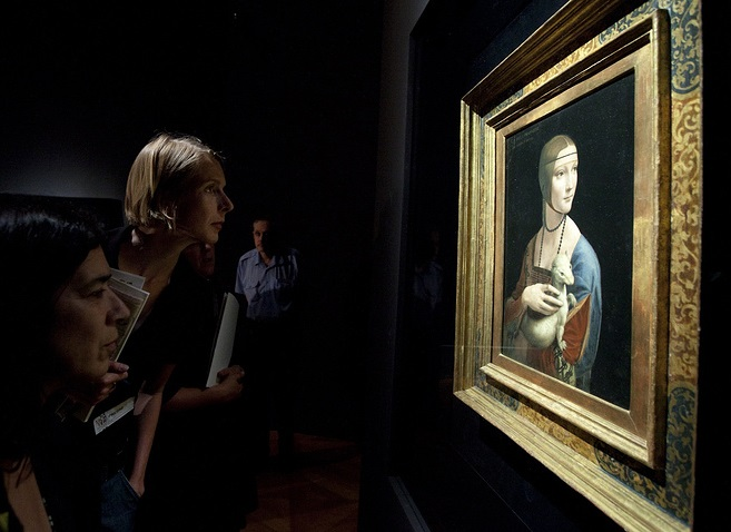 "Картина Леонардо да Вінчі, ""Дама з горностаєм"" / Фото: AP Photo/Markus Schreiber"