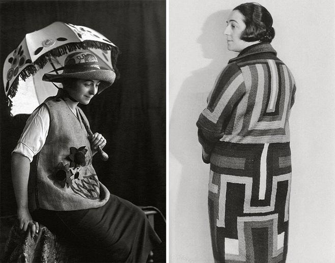Соня Делоне в туніці з вишивкою, капелюсі і з парасолькою власного дизайну, 1920, Мадрид Делоне в одному зі своїх пошитих пальто, 1925