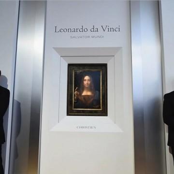 Картина Леонардо да Вінчі на передаукціонній виставці / Фото: Ilya S. Savenok/Getty Images for Christie's Auction House