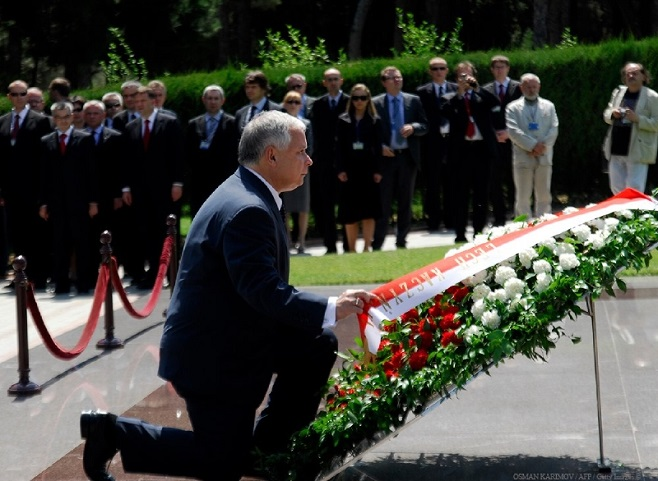 Президент Польши Лех Качиньский, Баку, Азербайджан / Фото Осман Каримов для агентства Франс-Пресс / 2009
