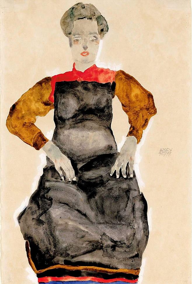 Егон Шиле. «Жінка в чорному фартусі». 1911. Акварель. / Фото: Sotheby's