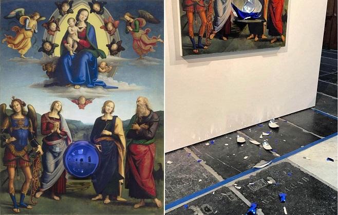 Зліва: Джефф Кунс. Gazing Ball («Мадонна з немовлям і чотирма святими» Перуджино). 2014-2015. Інсталяція в Новій церкви, Амстердам. Справа: осколки сфери, вмонтованої в репродукцію. / Фото: інстаграм Nieuwe Kerk
