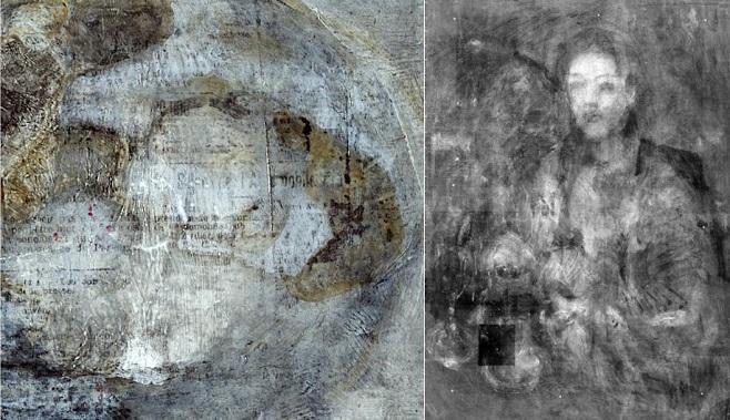 Фрагмент картини з виявленими шаром газети Le Journal та виявлена рання картина / Фото: Pola Museum of Art