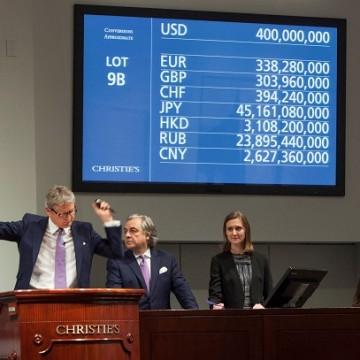 """Під час торгів Леонардо да Вінчі """"Спаситель світу"""" на Christie's в листопаді 2017 року / Фото: christies.com"""