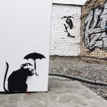Графітів у Києві, яке може належити Бенксі / Фото: autogeek.com.ua