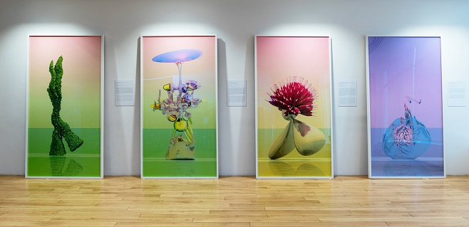 From left to right: «Greenwalking Dendriform», «Alchemicus Redolent», «Crimson Needle Fidget», «Fiolent | Crystal Baby» from the «Virtual Flowers» series | Each 240 х 125 cm, digital print on aluminum, plexiglas | 2016 | Photo by Sergey Ilyin