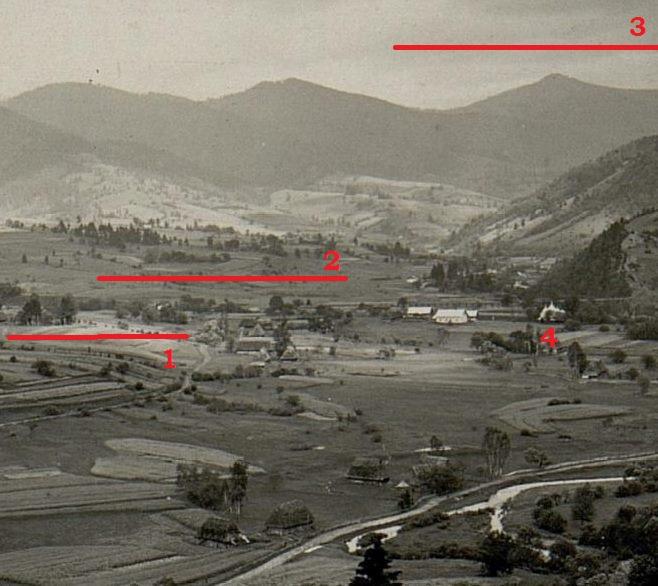 Художник міг стояти над лчервоною лінією під номером 1; будівлі, які зображені на картині знаходяться під лінією номер 2