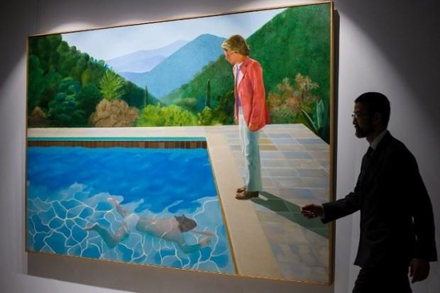 """Картина Девіда Хокні, """"Басейн з двома фігурами"""" / Фото: Anthony Wallace/AFP"""