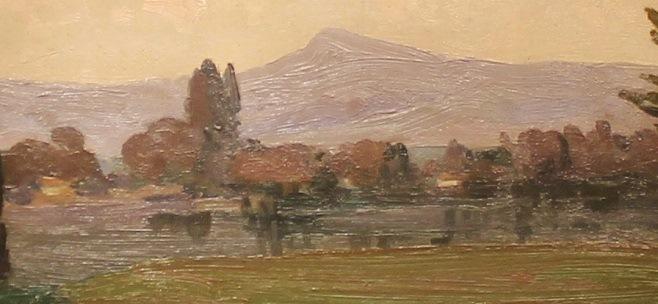 """Фрагмент картини, Івана Труша, """"Далекі гори"""", на якій видніються будівлі"""