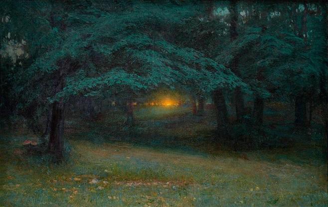 """Іван Труш, """"Захід сонця у лісі"""", 1904"""