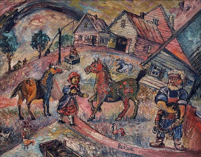 Давид Бурлюк «Сільська сцена із конями», 1950-і